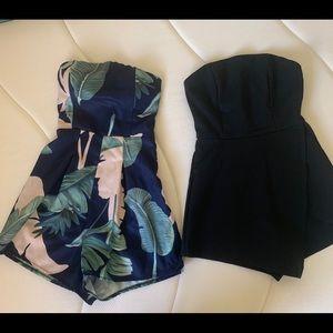 Two cute strapless romper black/green/blue